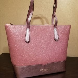 Kate spade lola glitter tote bag in rose pink
